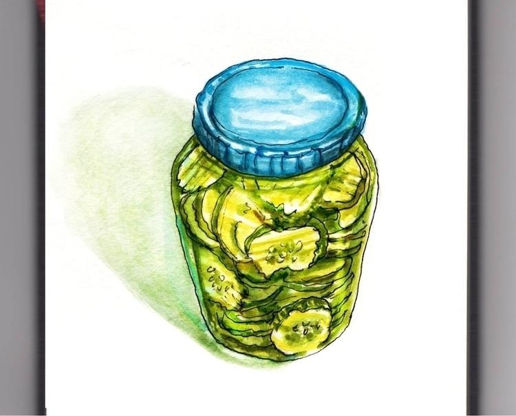 - Day 16 Big Jar Pickles - WorldWatercolorMonth - doodlewash | ello