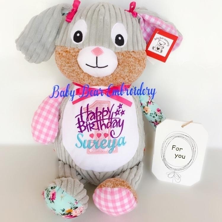 sweet harlequin bunny bringing  - babybearembroidery | ello