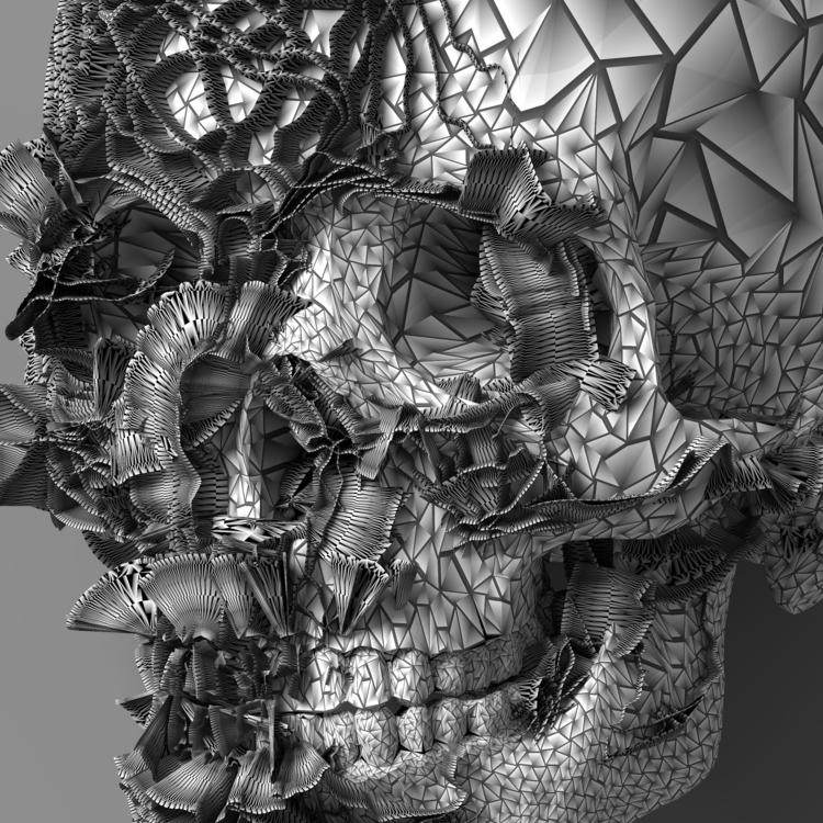 skull-004 detail - blender, 3d, glitch - srcxor | ello