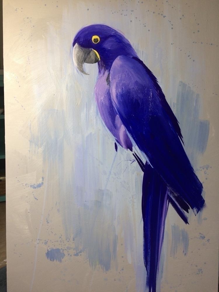 24 36 Hyacinth Macaw oil painti - rachelaine | ello