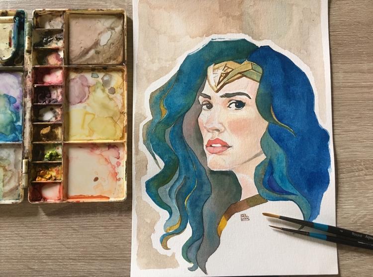watercolour art - dianaprince, dccomics - summergurl | ello