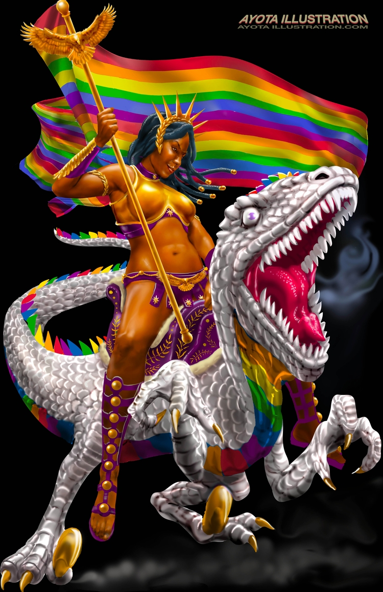 Pride warrior riding rainbow ve - ayotaillustration | ello