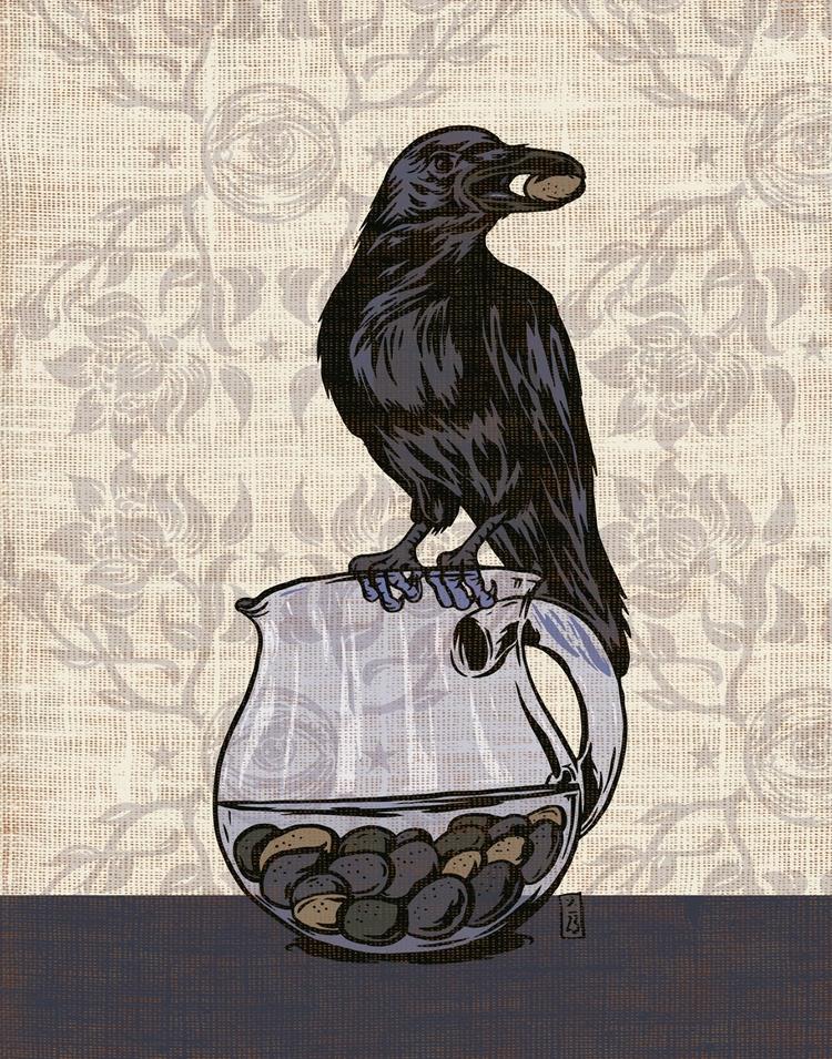 Crow Pitcher - illustration, fable - thomcat23 | ello