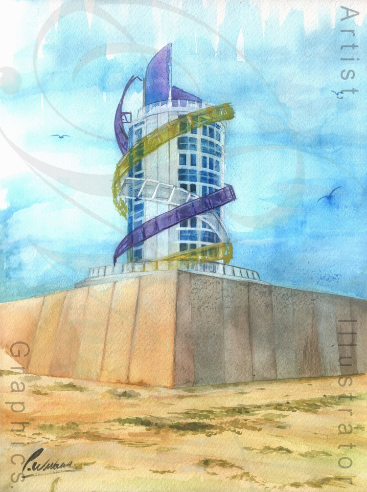Redcar Vertical Pier painting 1 - paul_williams_aig | ello