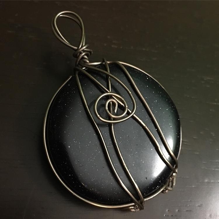 Blue Goldstone Handcrafted wire - maggies0817   ello