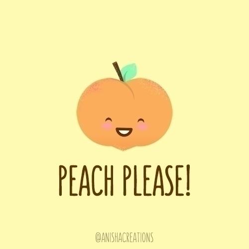 Peach funny - cute, illustration - anishacreations | ello