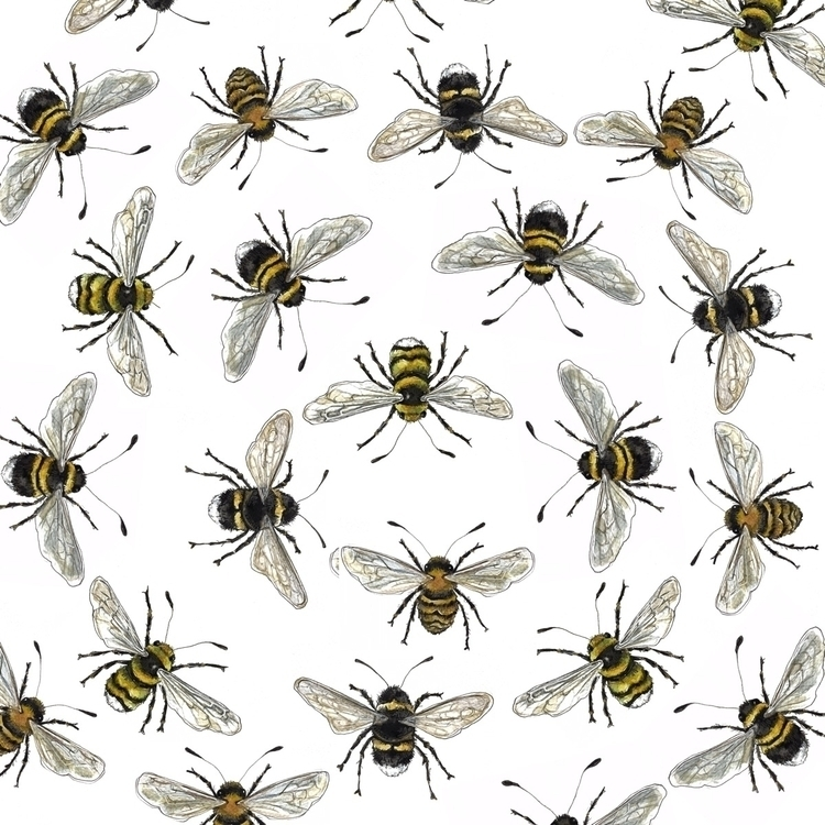 bees, illustration, pattern, texture - aliellydesign | ello