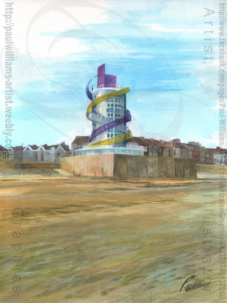 Redcar Vertical Pier painting 2 - paul_williams_aig | ello