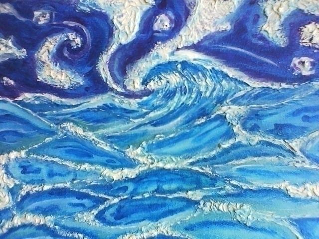 pacific night - acrylic, ocean, texture - rinamr | ello