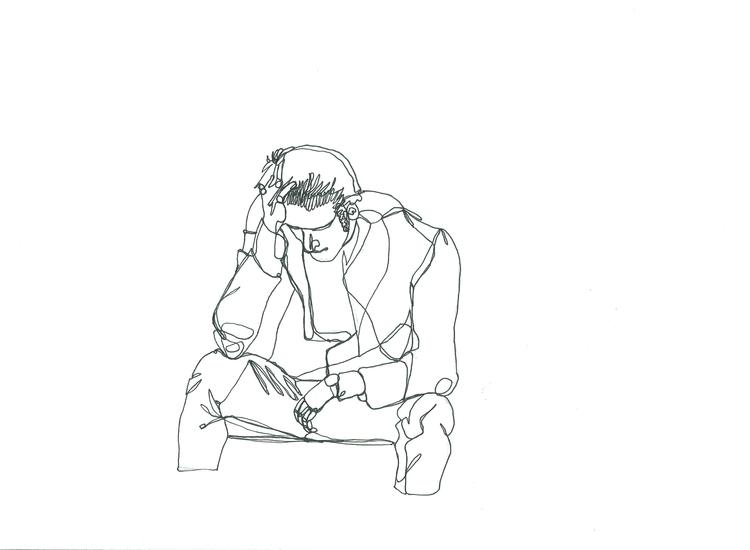 Continuous line study sad man.  - lhyillustration | ello