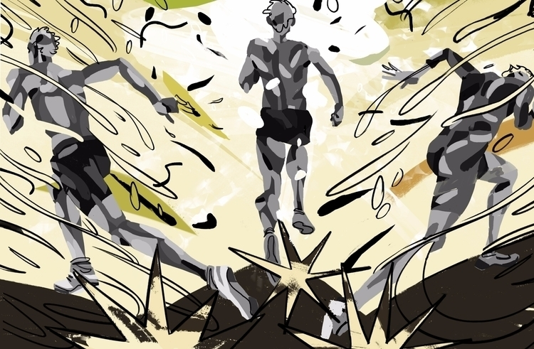 'Runners' 'running - art, arte, artinfo - ciaran_illustration | ello