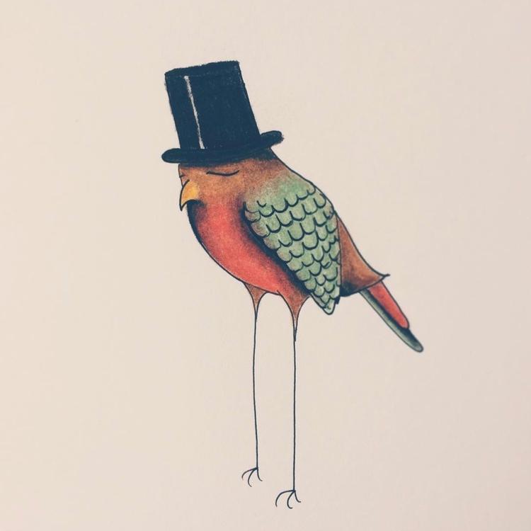 Bird tophat 2017 Femke Muntz - illustration - femkemuntz | ello