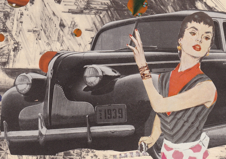 Hitching Ride Jeanne Teolis - collage - jeanneteolis | ello