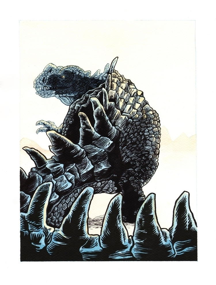 Ceratosaurus. Ink watercolour p - splendidhand | ello