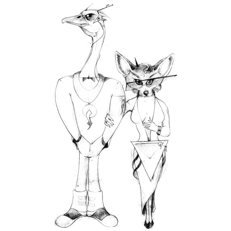 Avestruz Feneco. Desenho. Grafi - guilkato | ello