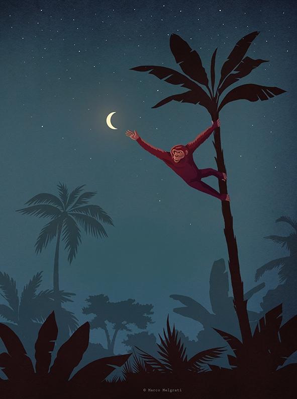 AIM HIGH - banana, moon, monkey - marcomelgrati | ello