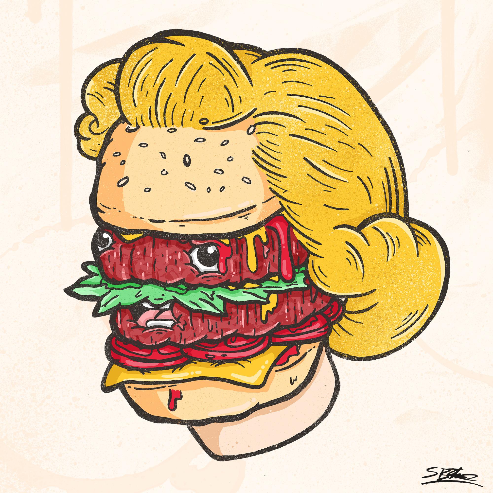 Burger Head - illustration, burger - samuelbthorne | ello