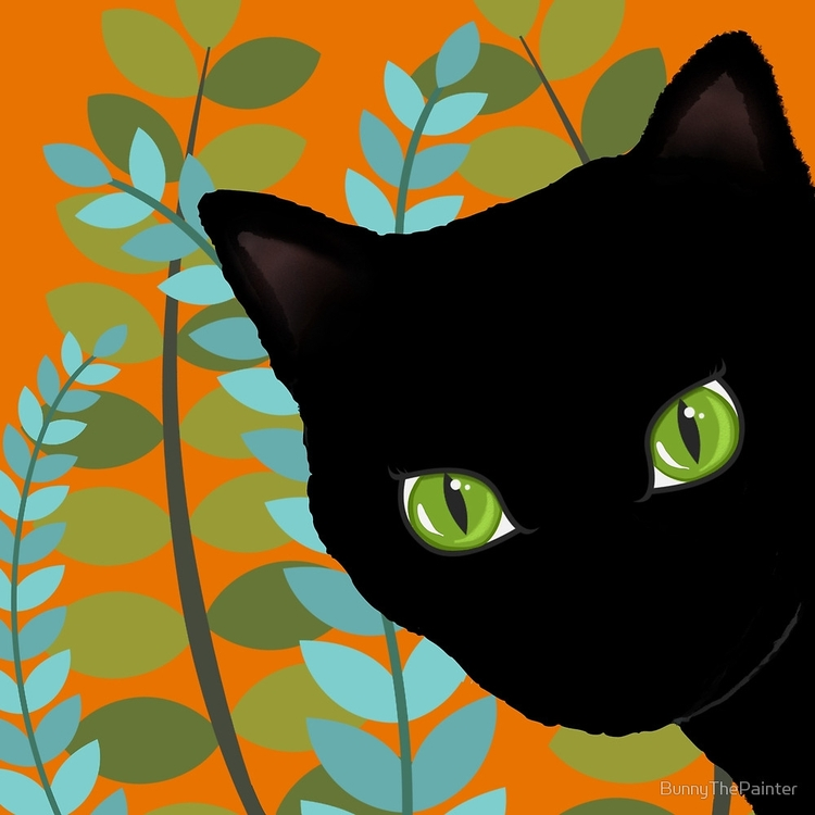 Black Cat Tall Grass paintings  - littlebunnysunshine | ello
