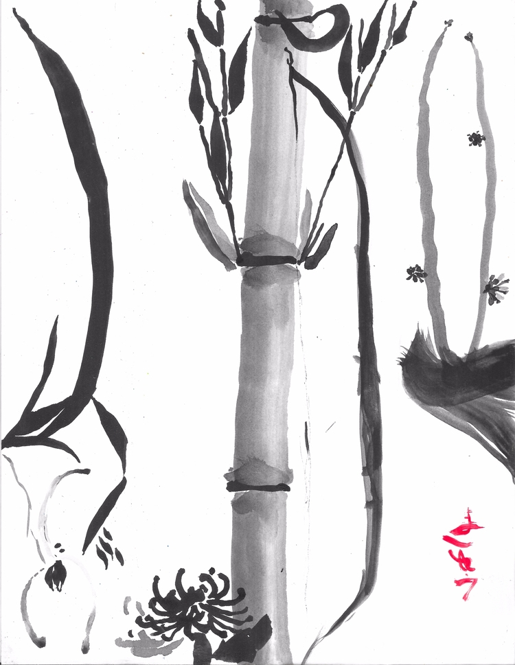 Noble Bow, Sumie, $30, 8.5 11,  - clan_morrison_art | ello