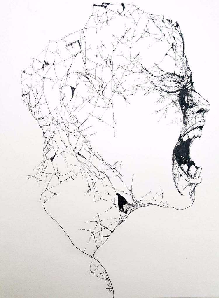 'Dreams Bleed' pen ink sketch m - non-artist | ello