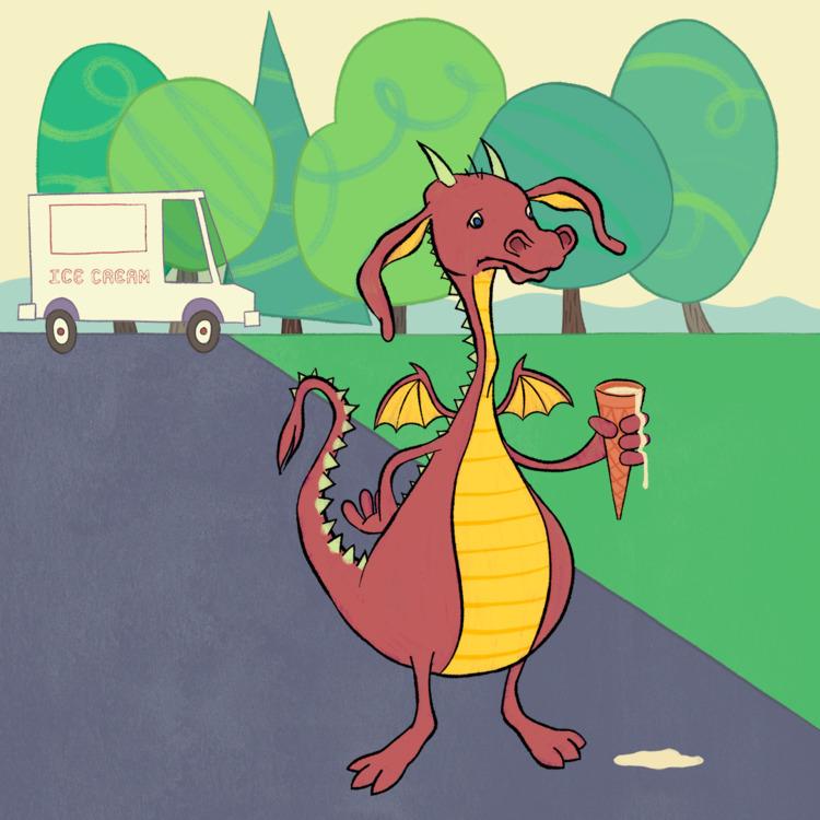 dragon ice cream - kidlitart, digitalllustration - jseckman | ello