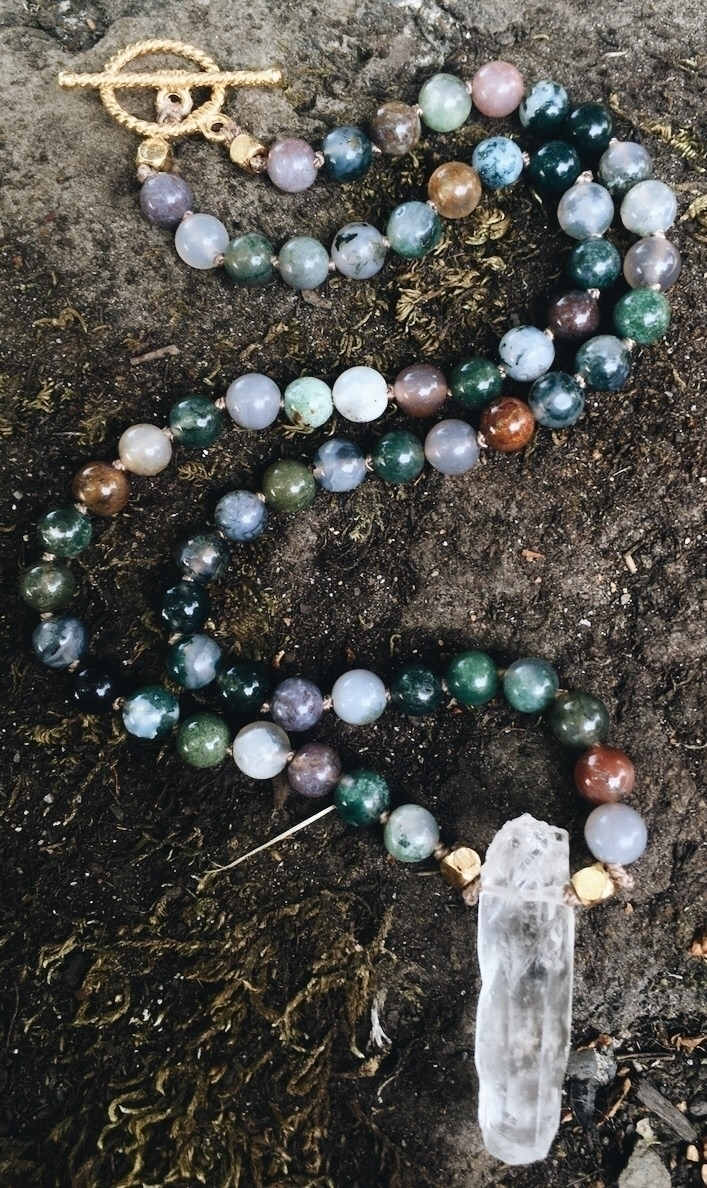 Jasper Beaded Necklace Crystal  - gypsyxjewels | ello