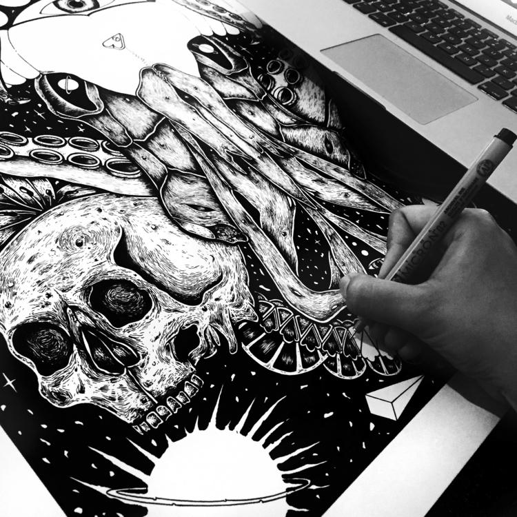 Workin' baby  - illustration, art - freshmilkart | ello