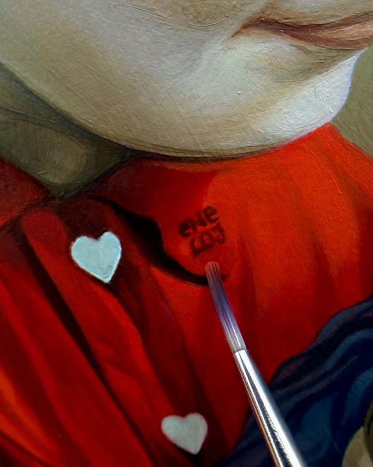 Working signing red collar. sig - enelojial   ello