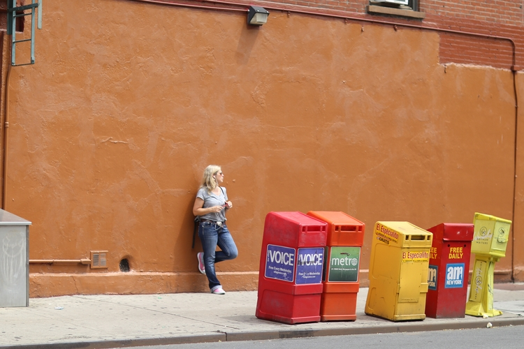 **Waiting** woman leaning wall  - kevinrubin | ello