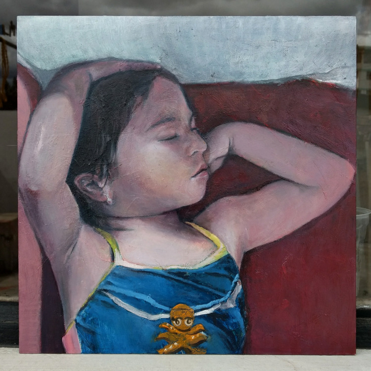Blue Girl (Ramona) Oil Panel 30 - fj-gc | ello