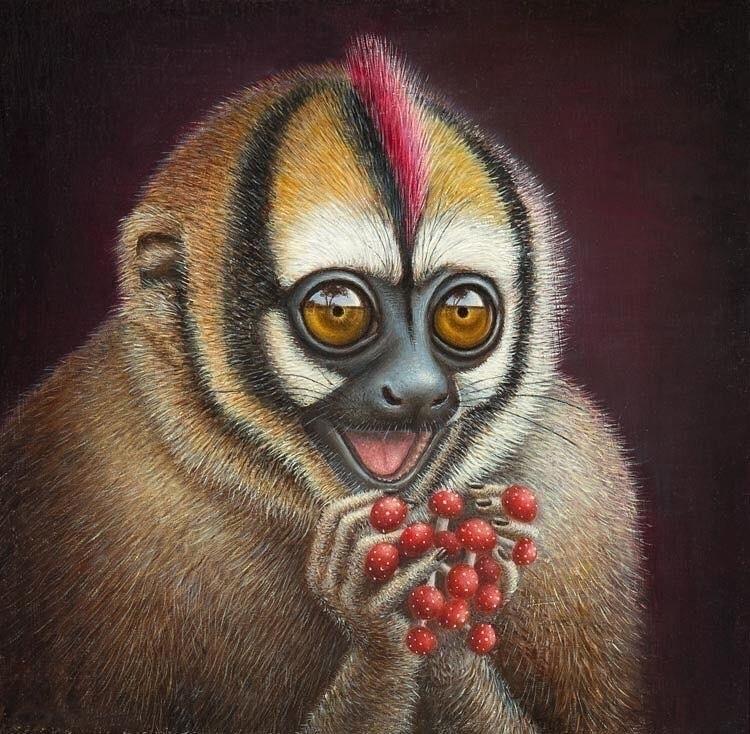 Shroomies - Monkey, owlmonkey#nightmonkey#mono#mononocturno#mushroom#shroomies#honguito#oleo#oilpainting#aotus#marteja#miconocturno - jeanpierrearboleda | ello