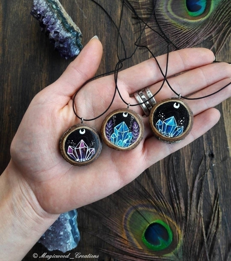 Hand painted pendants crystals - magicwood_creations | ello