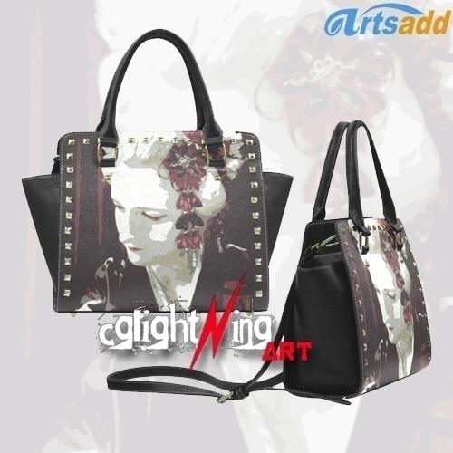 geisha Rivet Shoulder Handbag D - cglightningart | ello