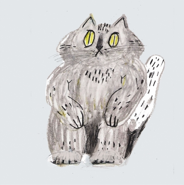 sitting cat - art, illustration - dci_biscuit | ello