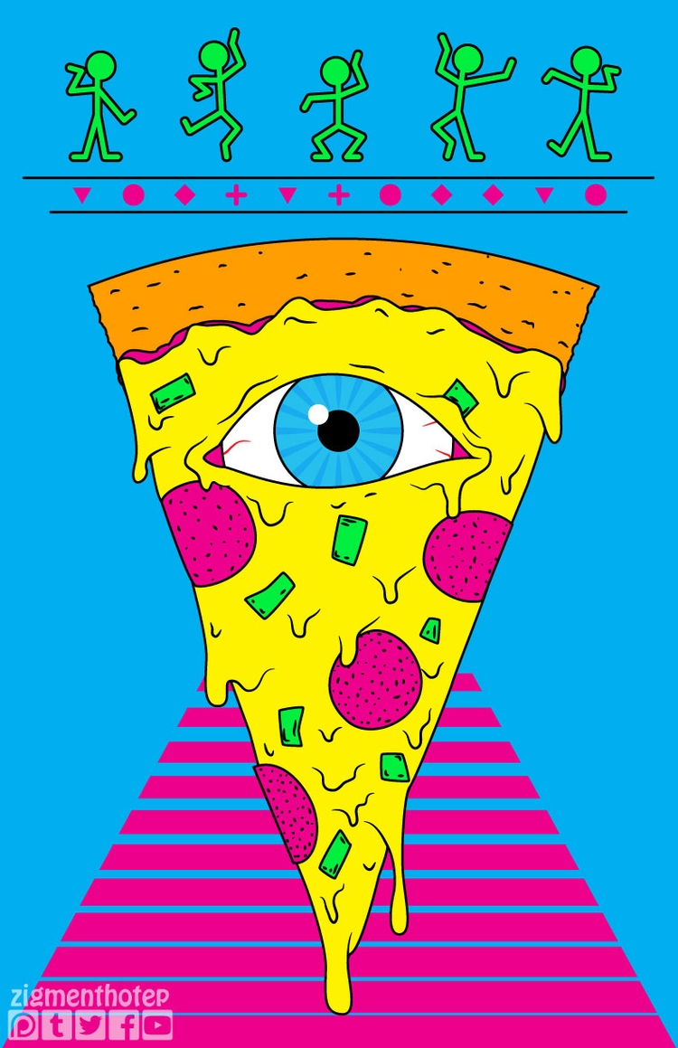 art - drawing, illustration, pizza - zigmund | ello