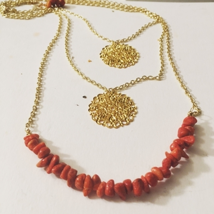 Layered Gold chain necklace red - gypsyxjewels | ello