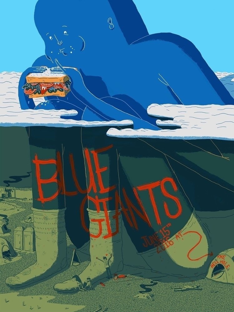 Blue Giants - illustration, gigposter - jefflowryillo | ello