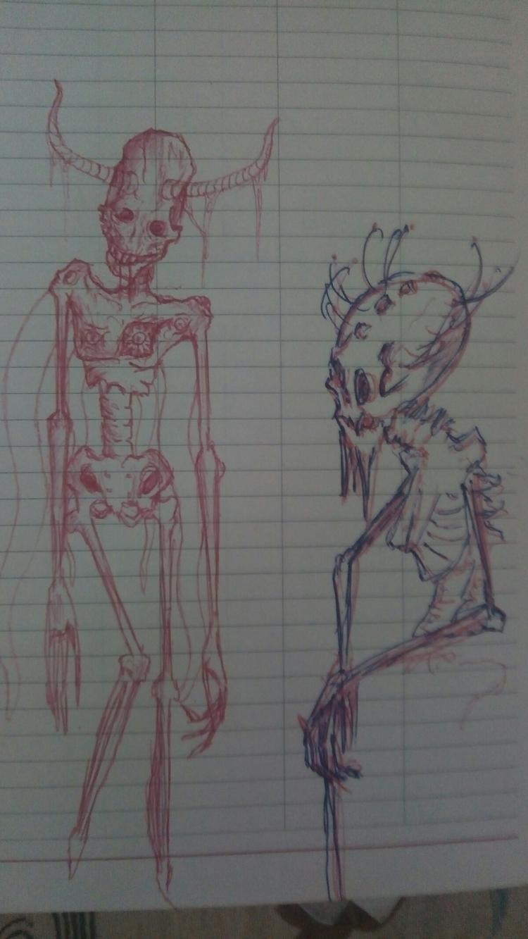 mental issues - horror, sketch, redpencil - darkgoath13 | ello