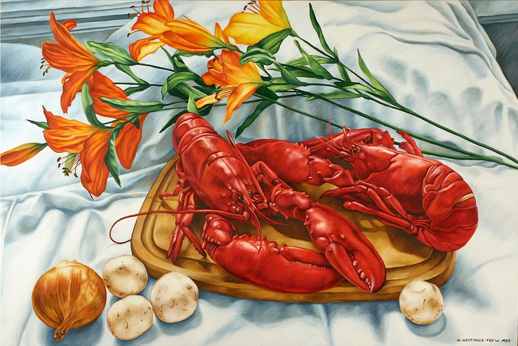 Lobsters silk day lilies, oil c - nancyht | ello