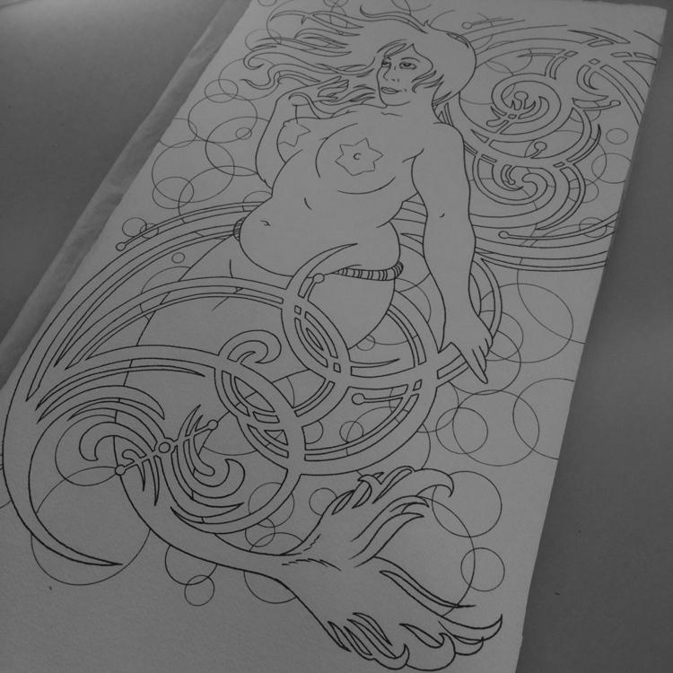 laid - Ink, design, painting., mermaid - levigreenacres | ello