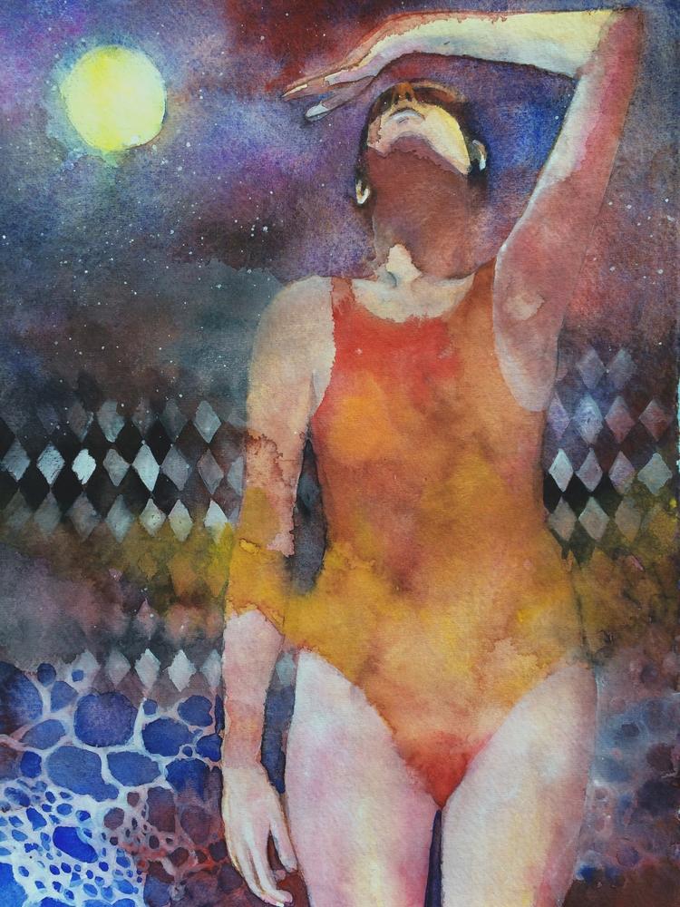 Swimmer watercolors paper, Subm - andreuccettiart | ello