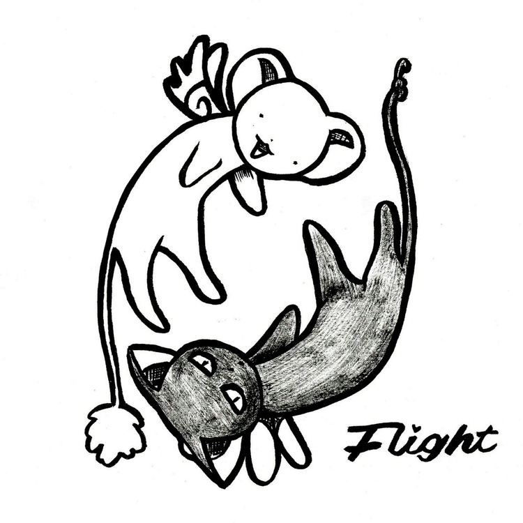 Sakura, flight, drawing, yingyang - r0vshi | ello