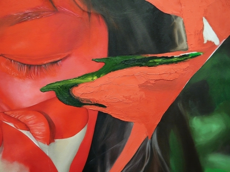Red Girl (wip) 96 84 oil canvas - lizafeurtado | ello