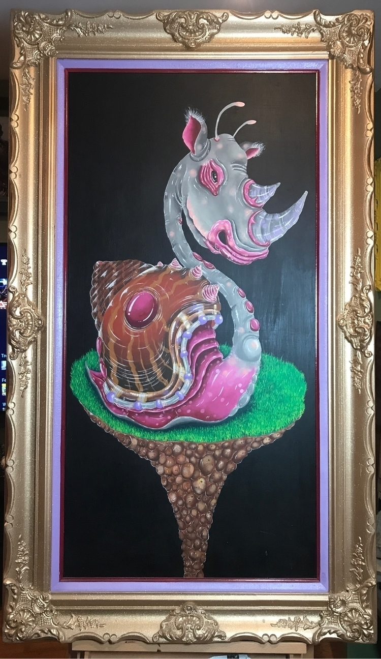 Rhino snail acrylic canvas 24x4 - jasonackerman | ello