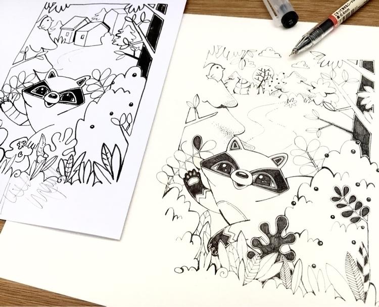 racoon, process, sketchvsartwork - eferboel | ello