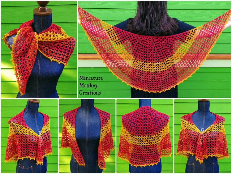 shop: Sunrise Shawl airy shawl  - miniaturemonkeycreations | ello