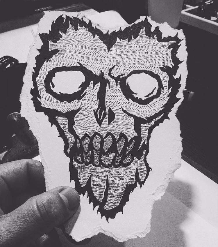 Skull fire black - ink, tattoos - rotserp | ello