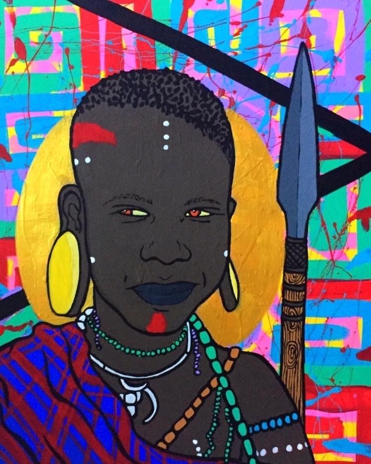 Mursi Girl II, acrylic canvas,  - graffitiegypt_ | ello