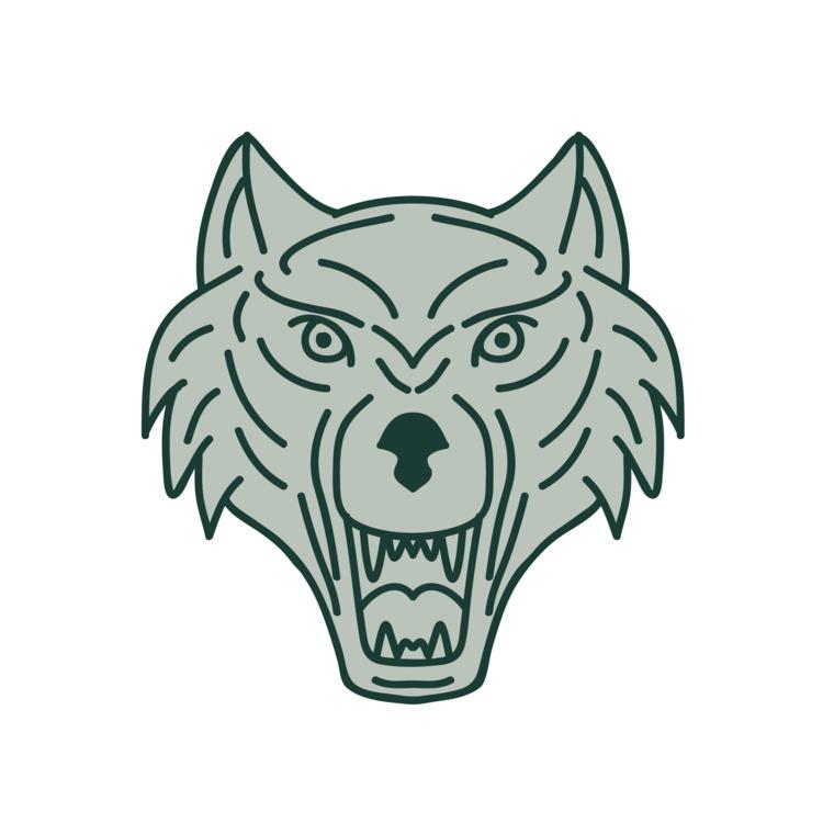 Line - Gray, Wolf, Head, Mono, retro - patrimonio | ello