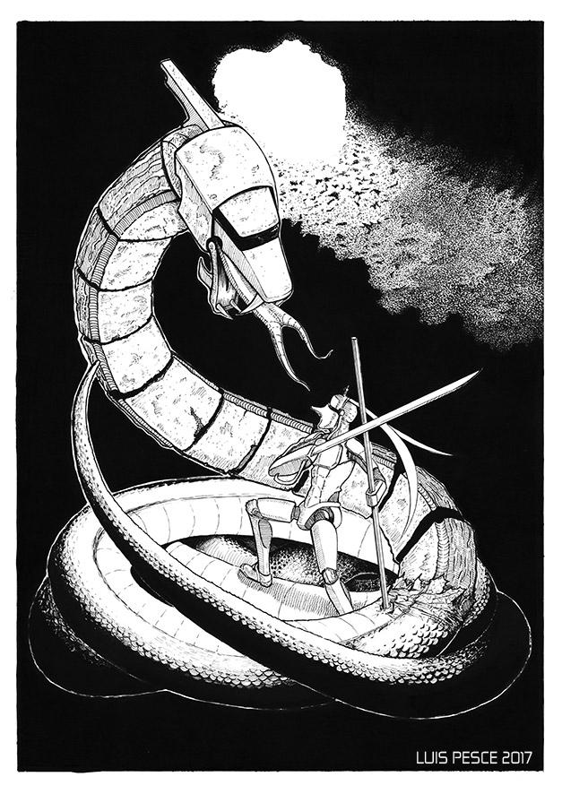 06 - Guerrero contra Hydra - art - luispesce | ello